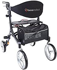 Besco Medical Faltbarer Leichtgewicht-Rollator Carbon, besonders leicht (4,8 kg) und stabil, klappbar, mit Tasche, Stockhalter, abnehmbaren Gurt und großer Sitzfläche