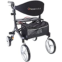 Faltbarer Leichtgewicht-Rollator Besco Medical Carbon, besonders leicht (4,8 kg) und stabil, klappbar, mit Tasche, Stockhalter, abnehmbaren Gurt und großer Sitzfläche