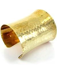 75 MM Wide Golden Hammered Cuff Bracelet,Gold Tone Brass Metal Bracelets,Adjustable Bangle One Size Fit All,Fashion...