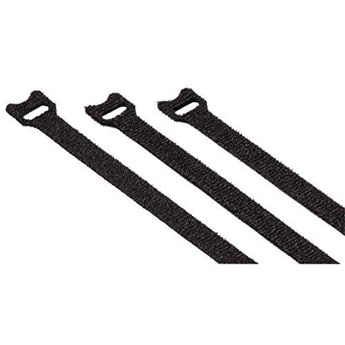 Hama Klett-Kabelbinder Set, 10x125mm 20 Stk. (Klettbänder mit Ösen, wiederverwendbarer Klettverschluss z.B. für Kabel, Leitungen, Schläuche) schwarz