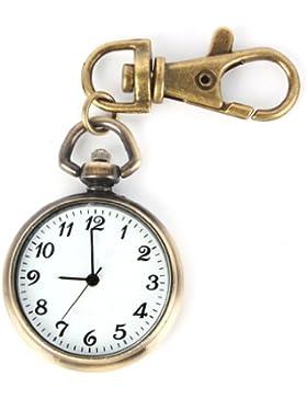 SODIAL(R) Bronze Farbe Rund Anh?nger Quarz Uhr Taschenuhr Schl¨¹sselring Damen Kinderuhr Geschenk Watch Xmas Gift