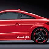 Autodomy Audi Seitlich Aufkleber Paket 2 Stück für Auto (Weiss)
