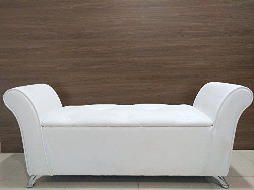 Biotin banqueta Blanca con función de baul Polipiel Blanca capitoné Hecha a Mano hogar Mueble Auxiliar Patas cromadas 1,35m X 0,40m X 0,60m.