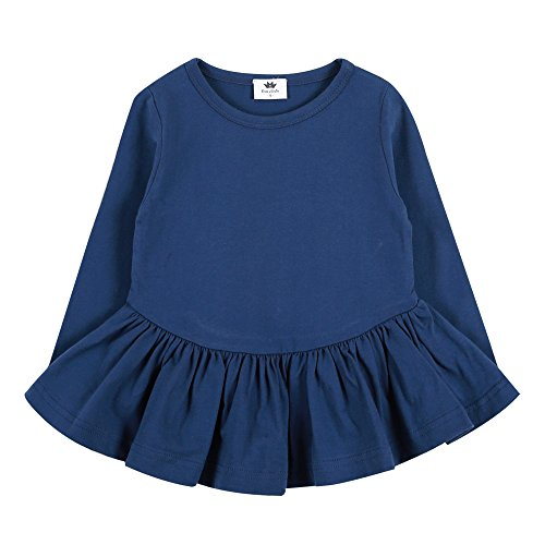 Eva & Elvin Infant Kind-Madchen-Outfits Bekleidung Fashion Dress Pleats Dress Navy XL