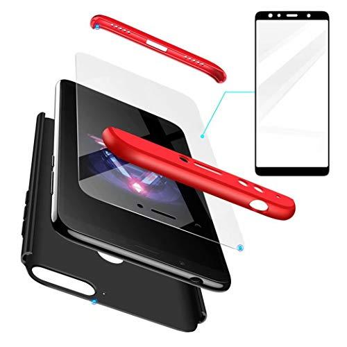 AILZH Huawei Honor 7X Hülle+Gehärteter Glas Folie 360 Grad HandyHülle PC Hartschale Anti-Schock Schutzhülle Anti-Kratz Stoßfänger Bumper 360° Cover Case matt Schutzkasten(Rot schwarz)