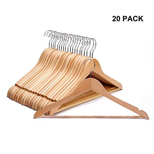 eujiancai Suit/Coat Hanger, Pack of 20, Solid Wooden Pant Hanger with Non Slip Bar and Cut Notches, Natural Finish -