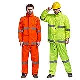 Leicht und atmungsaktiv Wasserdichte Regenjacke und Hose, reflektierende Sicherheit Regenmantel verstecken mit Kapuze Poncho Anzug für die Arbeit im Freien Aktivität ( Farbe : Grün , Größe : L )