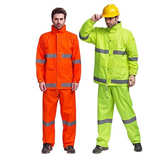 Guolipin Reflektierender Mantel Verstecken Sie Sich mit Kapuze Poncho-Anzug für Arbeit Outdoor-Aktivität Sichtweste für Laufen Radfahren wasserdichte Regenjacke und Hose Herren Warnweste