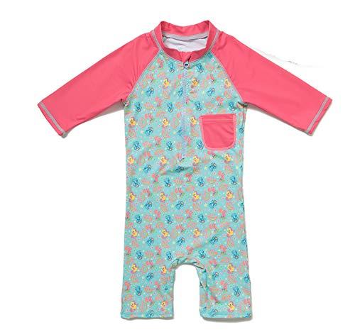 Baby Mädchen Ein stück 3/4 der ärmellänge UV-Schutz 50+ Badeanzug MIT Einem Reißverschluss(Pink-Pony,3-6M)