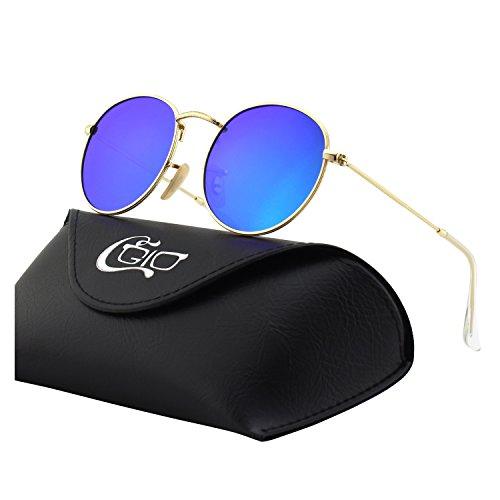 CGID Retro Vintage Sonnenbrille, inspiriert von John Lennon, polarisiert mit rundem Metallrahmen, für Frauen und Männer E01, A Gold Blau, L