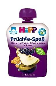 Hipp Früchte-Spaß Pflaume-Schwarze Johannisbeere in Birne, 6er Pack (6 x 90 g) - Bio