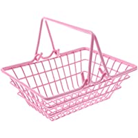 MagiDeal Kids Mini Metal Supermarket Shopping Basket For Kitchen Fruit Vegetable Food Grocery Storage Pretend Play Tools Toy Gifts Pink S