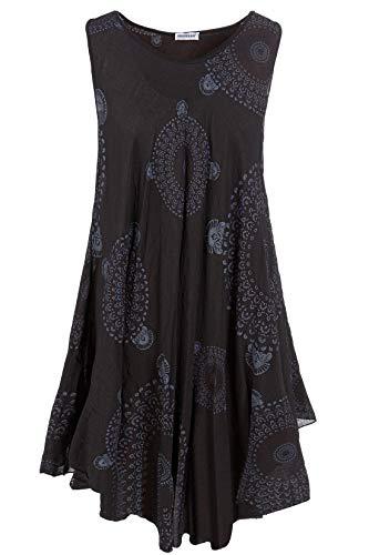 PEKIVESSA Strandkleid große Größen Damen ärmellos Sommerkleid Schwarz 48+50 (Herstellergröße One Size)