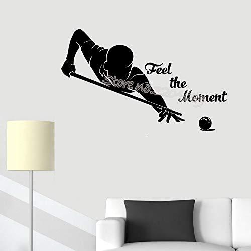 yiyiyaya Billard Pool Wall Sticker Sentez Le Moment Citations Decal Billard Joueur Salle de Jeux Accueil intérieur cue Sport Étanche Décor 94X56CM