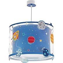 Dalber 41342–Lámpara de techo, con diseño deplanetas, plástico, color azul, 33x 33x 25cm