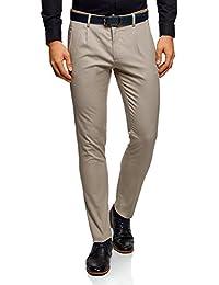 oodji Ultra Hombre Pantalones de Algodón con Acabado en Contraste ae27540062b3f