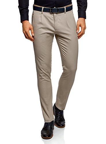 oodji Ultra Hombre Pantalones de Algodón con Acabado en Contraste, Beige, ES 44 (L)