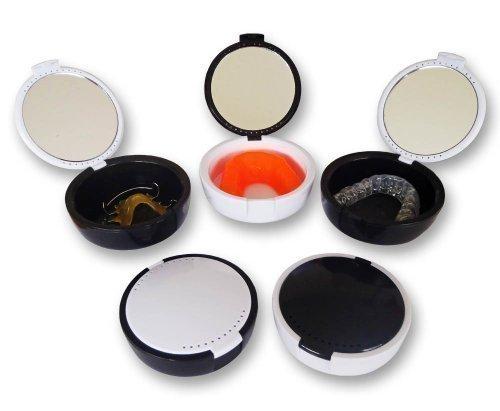 Halter Case mit Spiegel (2er Set) Schwarz & Weiß Farben ~ für Zahnfleisch Schutzschild, Mund Schutz, Oval Kieferorthopädisch Zahn Box