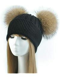 a620d412b7e88 Cappello Cashmere Doppio PON PON Pelliccia Cappellino Cuffia Donna Uomo  Bambina Bambino Hat Fur Murmasky Woman