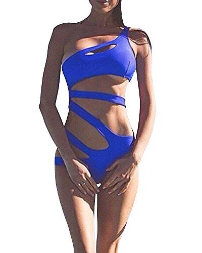 Heiße Bikini-badeanzug (Damen Elegant Push-Up Bikini-Sets Bademode Tankini Monokini Swimsuit Strandmode Schwimmanzug Badeanzug Badebekleidung Swimwear Blau M)