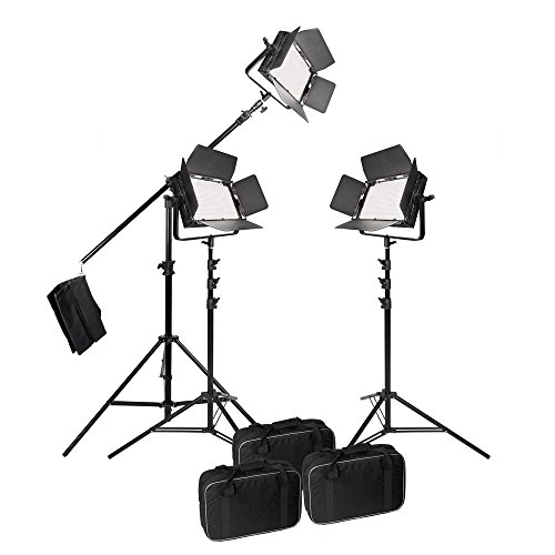 Best Price PIXAPRO® VNIX1000S Three Head Boom Kit LED Panel Video Lighting Panel Kit 5600K Dimmable DMX Control High CRI >95% Interview Youtube *2 Year UK Warranty *Fast Delivery *UK Stock *VAT Registered Special
