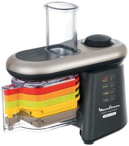 elektro gemueseschneider DJ905810 Moulinex Fresh Express Cube and Stick Mandoline Elektro 5 Funktionen Ausschneiden Schwarz /