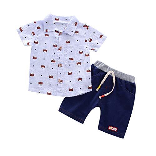 JUTOO 2 stücke Kleinkind Baby Jungen Sommer Gentleman Kurzarm Druckhemd + Shorts Hosen Sets (Blau 1,90)