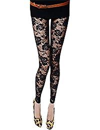 d9d0e60661 Bigood Collants Femme Dentelle Sexy Leggings Transparent Soirée