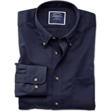 Classic Fit Button-Down Non-Iron Twill Navy Cotton Shirt Single Cuff by Charles Tyrwhitt