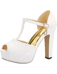 UH Damen T Spangen Lack Blockabsatz High Heels Peep Toe Plateau Sandalen mit Schnalle Elegante Schuhe