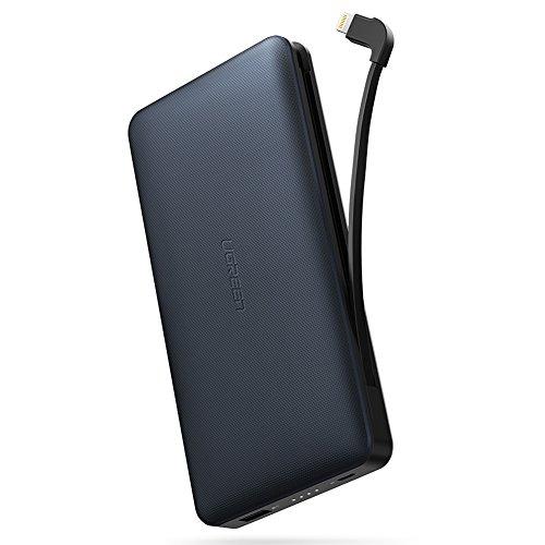 UGREEN Powerbank iPhone X 20000mAh Externer Akku mit integriertem MFI Lightning Kabel und 2.4A USB Port Tragbares Ladegerät für iPhone 8/8 Plus/7/6/SE, iPad Pro,iPad Air, Samsung S8,S7,S6, J3 2017 usw (Ipad Ladegerät Flugzeug)