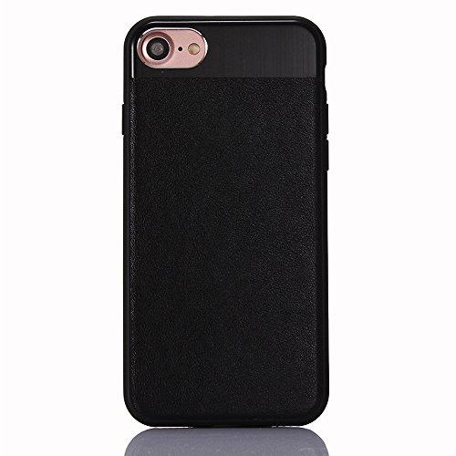 "iPhone 6s Hülle, iPhone 6 Schwarze Silikontasche, CLTPY Ultra Hybrid 2 in 1 Plating TPU Schutzfall, Dünne Weben Muster Series Stoßfest Case für 4.7"" Apple iPhone 6/6s + 1 x Stift - Black A Black C"