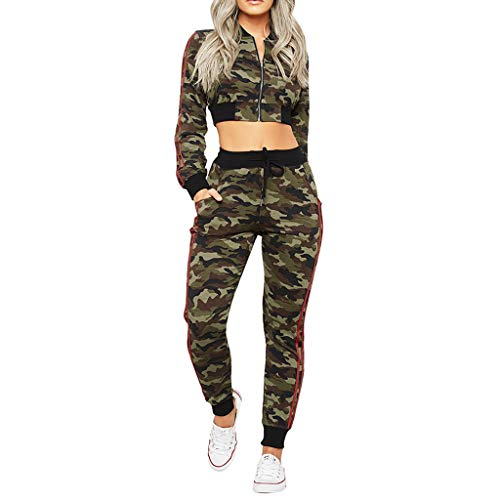 Amcool Damen Sportanzüge, 2 Stück Set Jogginganzug Camouflage Patchwork Trainingsanzug Freizeitanzug Casual Bauchfrei Streetwear Kapuzenpullover Sweatshirts Tops +Lange Hosen