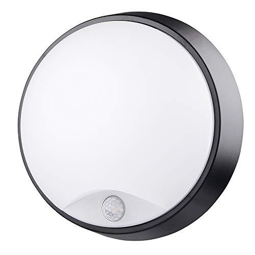 Chestele Außenbeleuchtung von Wänden 10W LED Aussenleuchte, 4000K, 700lm, IP54-geschützt Wasserdicht, Wandlampe mit Bewegungsmelder, 10 m Reichweite, Schwarze Deckenleuchte [Energieklasse A+]