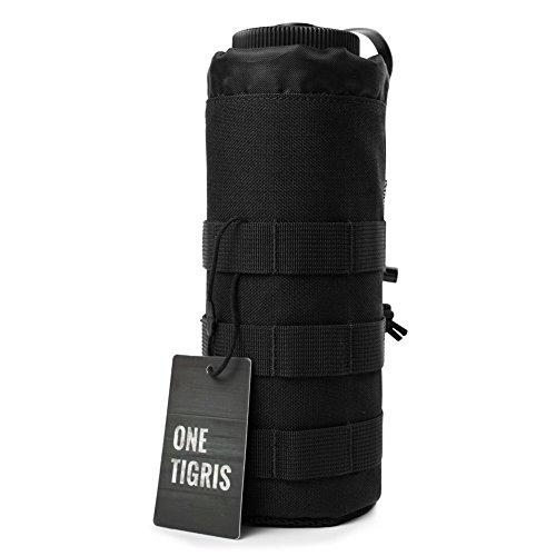 OneTigris Outdoor Sport Tactical Gear Nylon Molle System Trinkflasche Halter Wasserkocher Tasche Carring Aufbewahrungstasche (Schwarz) (Molle Hals)