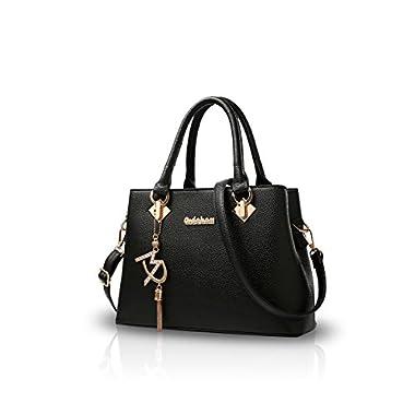 NICOLE&DORIS Women Fashion Handbag Crossbody Shoulder Purse Bag for Ladies Water Resistant Totes Soft PU Leather Black