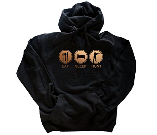 Bronze Edition Eat Sleep Hunt Jäger Jagen Jagd Kapuzensweatshirt Hoody Schwarz L