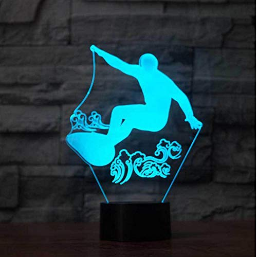 ZJFHL 3D Optical Illusion LED Nachtlicht Schlittschuh 7-Farben ändern Touch Tisch Schreibtisch Lampe Deko Lampe mit Acryl Platte & ABS Base & USB Ladegerät für Geschenke