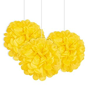 Unique Party- Paquete de 3 pompones pequeños de papel de seda, Color amarillo, 23 cm (64211)