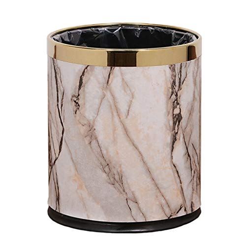 WANGTAOSHOP Doppelter Edelstahl-MüLleimer, Unbedeckte Leder-PapierköRbe Wasserfester Rost - Stein Textur Marmor Gold 10 L