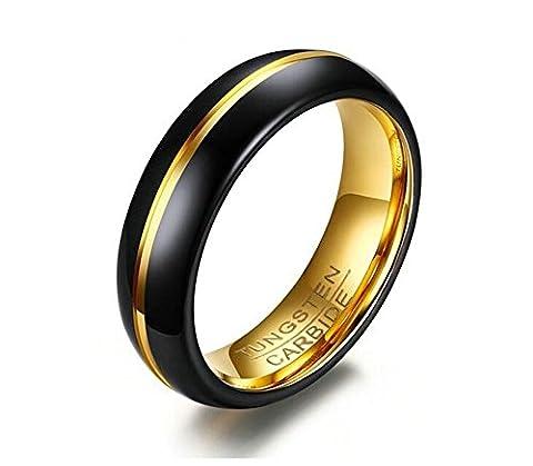 SanJiu Schmuck Herren Ringe Edelstahl Ring 6MM Einfacher Stil Partnerringe Freundschaftsringe Eheringe Trauringe Verlobungsringe für Herren Schwarz Gold Größe 62 (19.7)