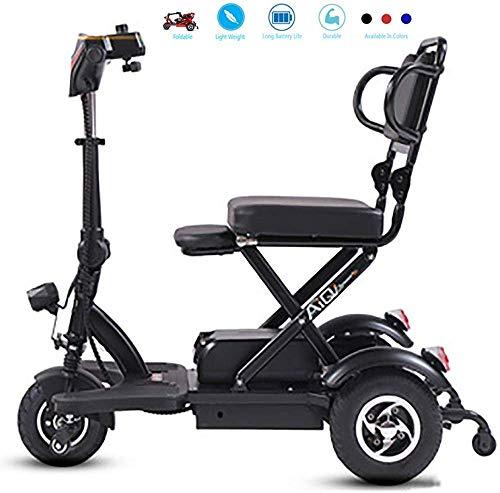 Yuiop Mini-Elektrorollstuhl für ältere Menschen mit Behinderungen Elektrisches Haushaltsdreirad Doppeldifferentialantrieb Motorroller Lithiumbatterie LED beleuchtet,Schwarz,35~40km