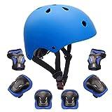 KORIMEFA Casco da Bici per Bambini Set di Casco Protezione Bambini Casco, Ginocchiere, Gomitiere, Protezioni Polso per Bambini da 3-8 Anni, per Hoverboard, Scooter, BMX e Bicicletta (Arancione, S)