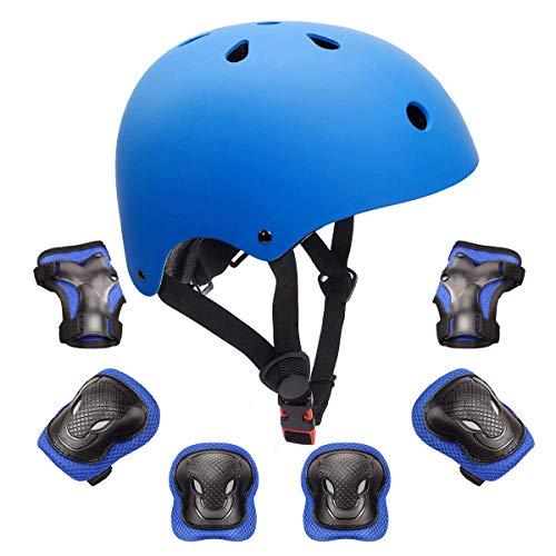 KORIMEFA Kinder Fahrradhelm Set Schutzausrüstung Set Knieschoner Ellenbogenschoner Handgelenkschutz für Kinderroller Scooter Skateboard Radfahren BMX Cycling Skateboard 3-8 Jahres Kinder