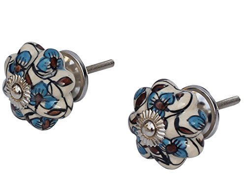 CLEARANCE SALE - Set of 2 Ceramic Drawer Knobs - 4.3 cm Round Knob for Cupboard / Dresser / Cabinet Pulls/ Handles - Hand-Painted Bright White, Blue & Red Color by SouvNear