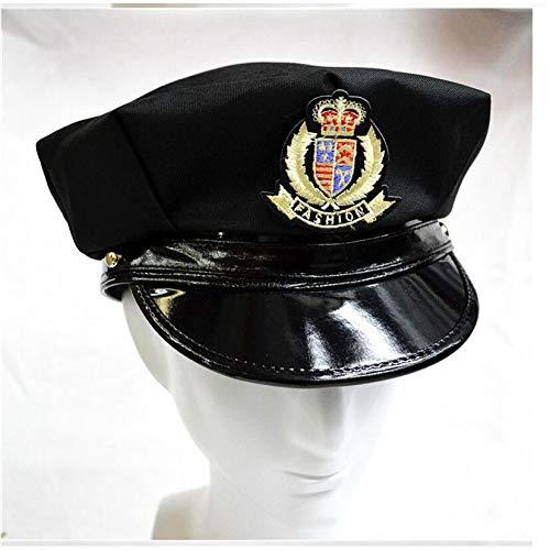 militär mütze Vintage Männer Und Frauen Neue Staaten Abzeichen Achteckige Polizei Hut Schwarz Kapitän Flat Top Bühne Military Caps Heißer, A -