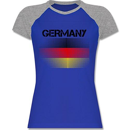 EM 2016 - Frankreich - Germany Flagge - zweifarbiges Baseballshirt / Raglan T-Shirt für Damen Royalblau/Grau meliert