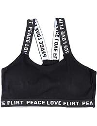 Clispeed Mujer Modelo elástico Letra Backless Crop Top Sujetador  Transpirable Bandolera de Banda Tubo Bra Top Vest para Las Mujeres… 87bb51d2277