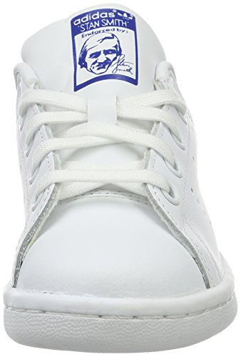 adidas Kinder-Unisex Stan Smith C Basketballschuhe Multicolore (Ftwwht/Ftwwht/Eqtblu)