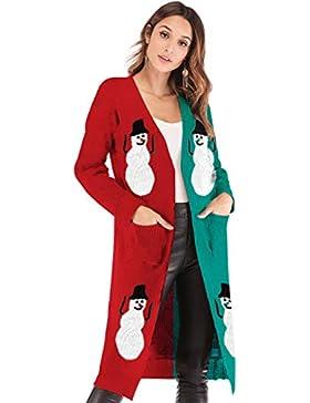[Patrocinado]Zilee Mujer Jersey Navidad Suéter Invierno Cardigan - Manga Larga Tops Prendas de Punto Cuello Rebecas Otoño Capa...